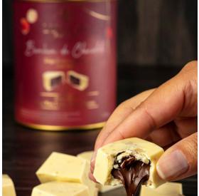 Bombom de Chocolate Belga Branco com recheio de Avelã 20g