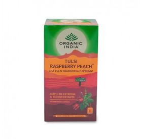 Chá De Framboesa E Pêssego Com Tulsi Organic India Cx Com 25 Sachês De 45 g