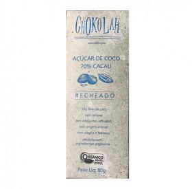 Chocolate com Açúcar de Coco 70% Recheado Orgânico 80g