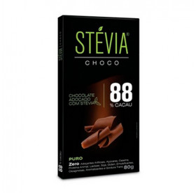 Chocolate Stévia Choco 88% Cacau Adoçado Com Stévia 80g - STÉVIA